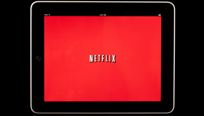 A Tablet with the Netflix logo on the screen