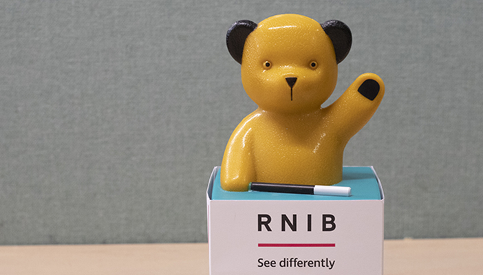 Image of a sooty box with RNIB's logo