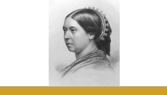Black and white portrait drawing of Queen Victoria. A gold banner spans beneath the image