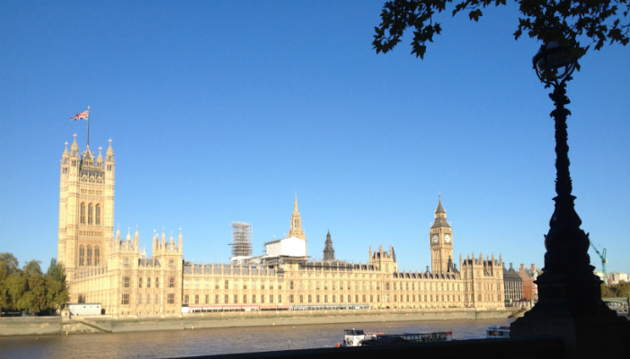 The Houses of Parliament, Westminster, seen from the south bank of the River Thames