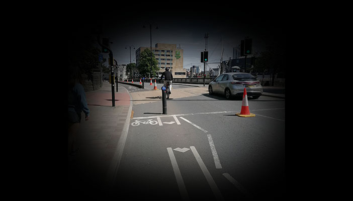 Image of street seen through restricted vision