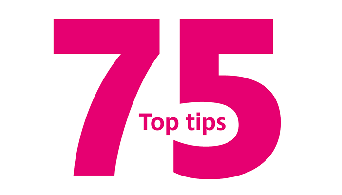 Image of 75 top tips logo in pink