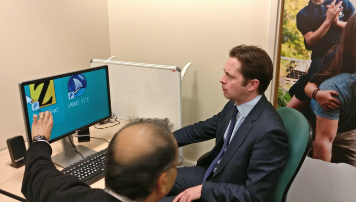 Alex Burghart MP tries out ZoomText assistive technology