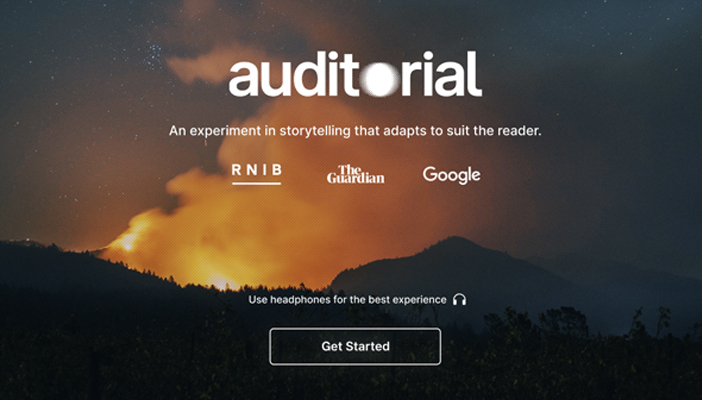 Screenshot of the Auditorial website homepage