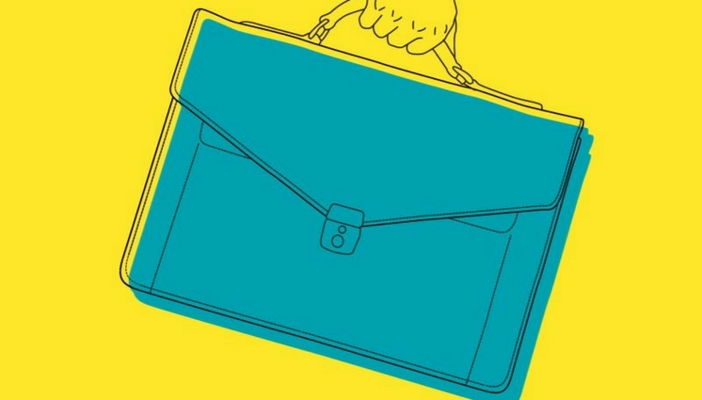 Illustration of a hand holding a briefcase symbolising the Budget briefcase