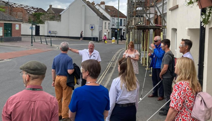 Steve Hyde, RNIB Regional Campaigns Officer, leads a blindfold walk in Barnstaple with Selaine Saxby MP, local councillors and residents.