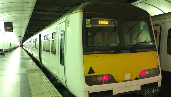 Picture shows train at platform