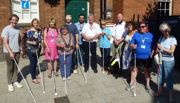 Participants of the Taunton blindfold gathered together.