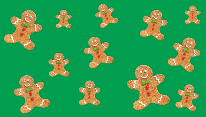 Gingerbread figures on a green background