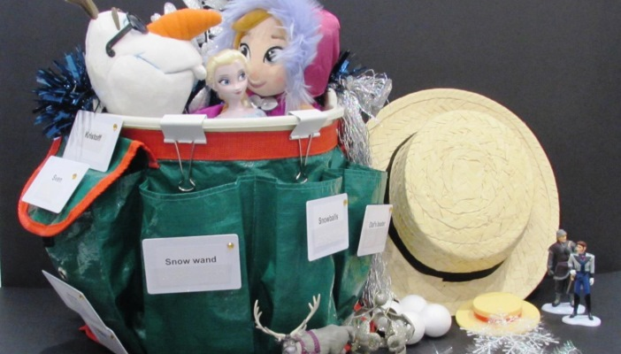 Photo of Gwyn's creative story bucket based on the popular children's film Frozen