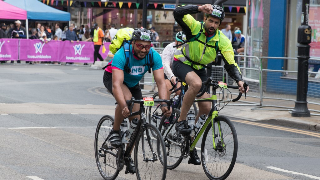 Members of Team RNIB take part in a cycling event.