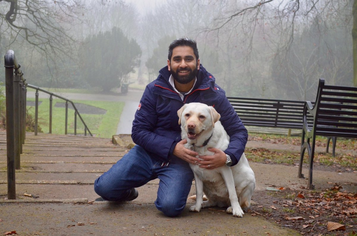Amit and his guide dog
