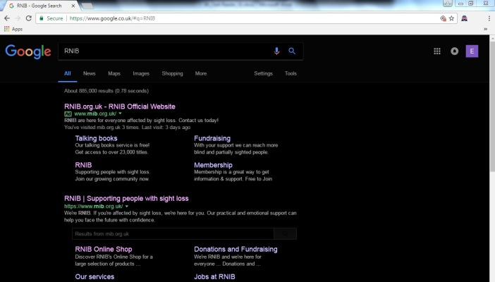 Screenshot of inverted Google webpage