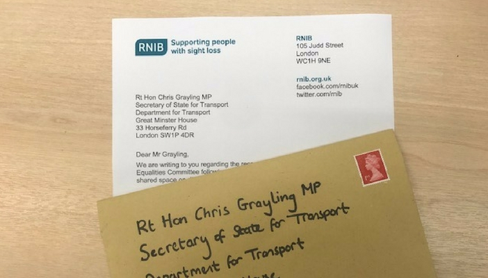 Letter and envelope addressed to Chris Grayling MP