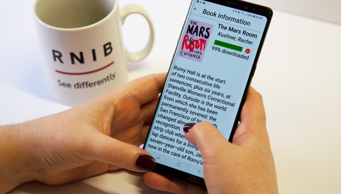 Easyreader app being used to view RNIB Overdrive on a smartphone