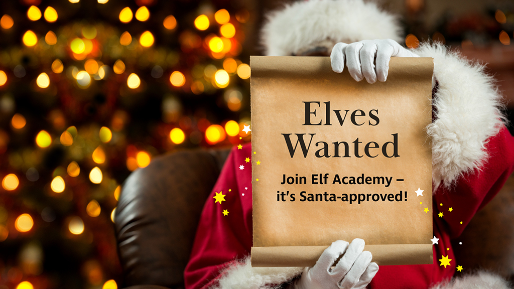 Santa holding up a sign that says Elves wanted
