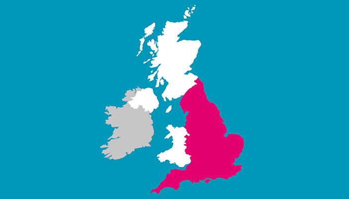 Map of the UK with England in pink