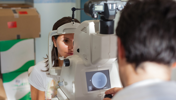 Patient receiving eye screening