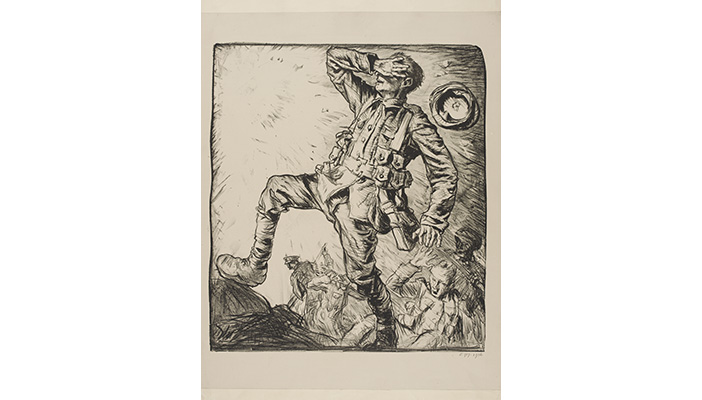 Drawing of a soldier being blinded by a shell in the First World War