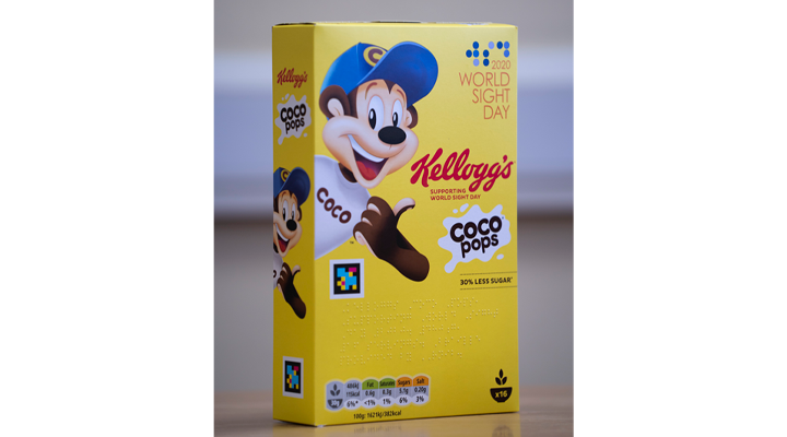 Front of Coco Pops packing showing accessible features