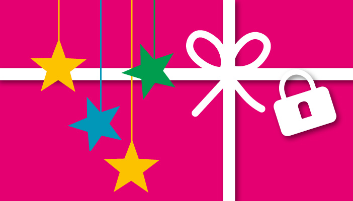 A pink present which has a white ribbon, a padlock and some hanging stars on it