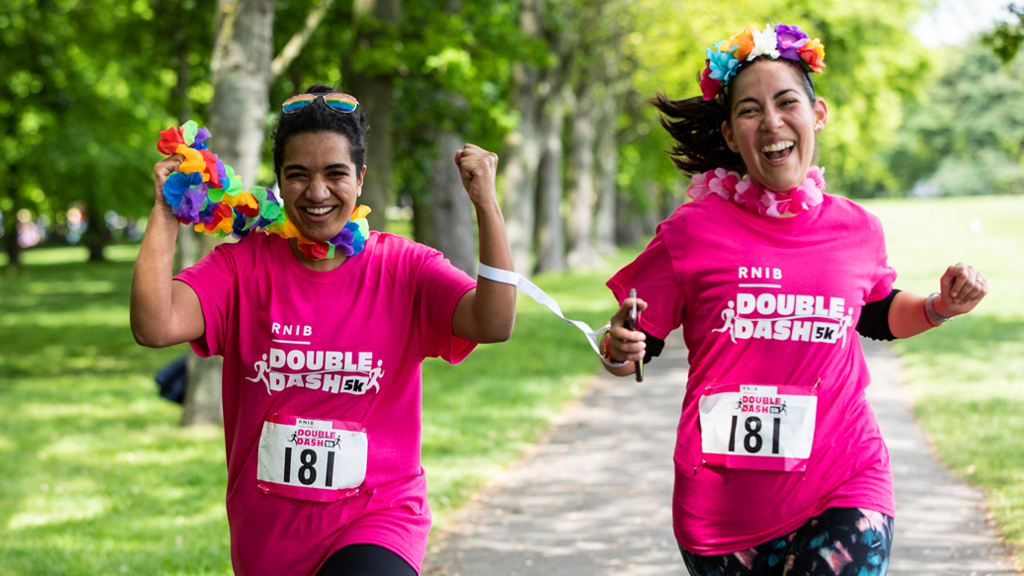 Two runners from RNIB Double Dash charity fun run 2019
