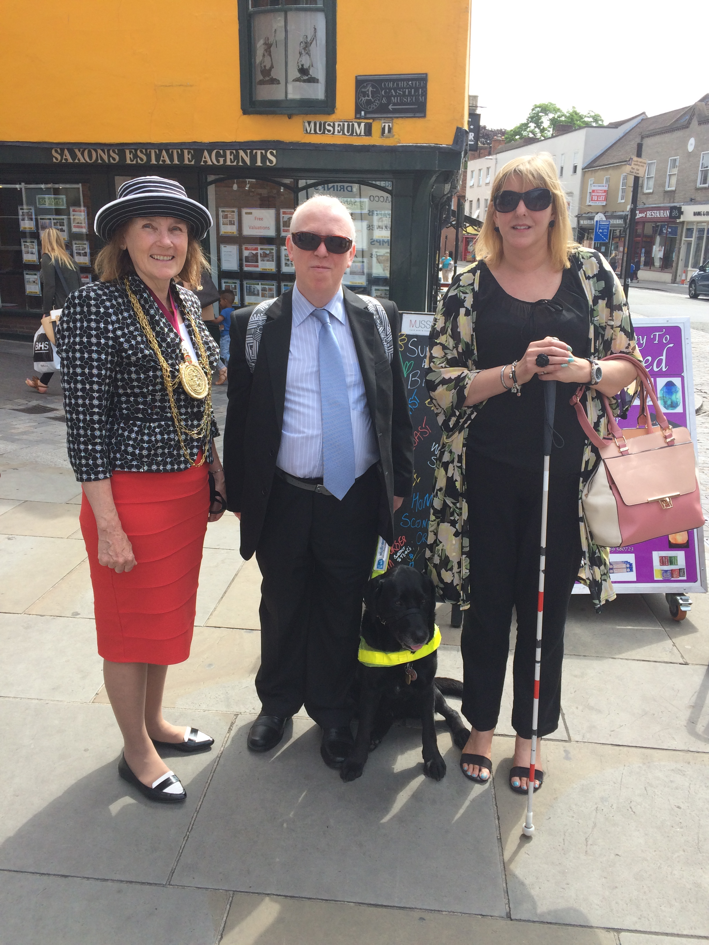 Phil on blindfold walk with councillor