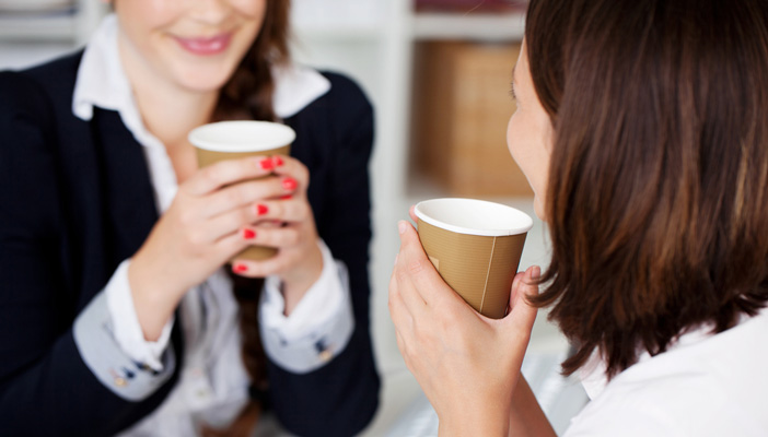 Women talking with coffee
