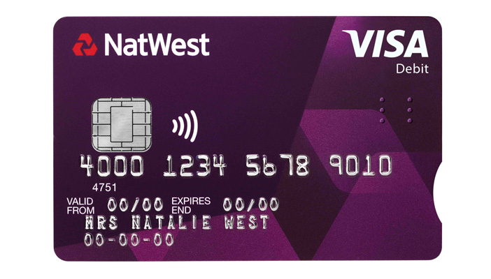 Image shows the new accessible barclay card, which is purple with tactile cues to identify