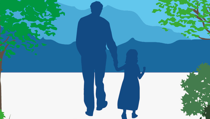 Illustration of a father and daughter holding hands in nature