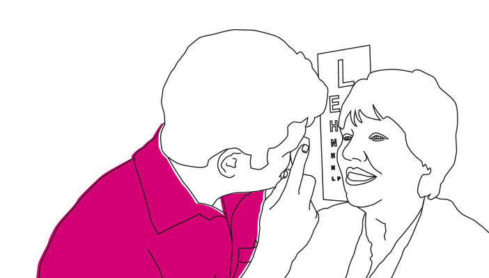 Illustration of somebody having an eye test