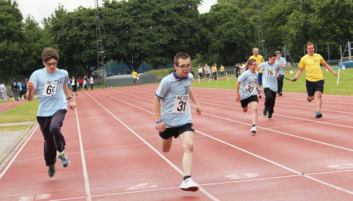 Vision impaired person running