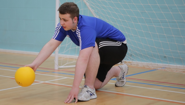 Jake playing indoor goalball