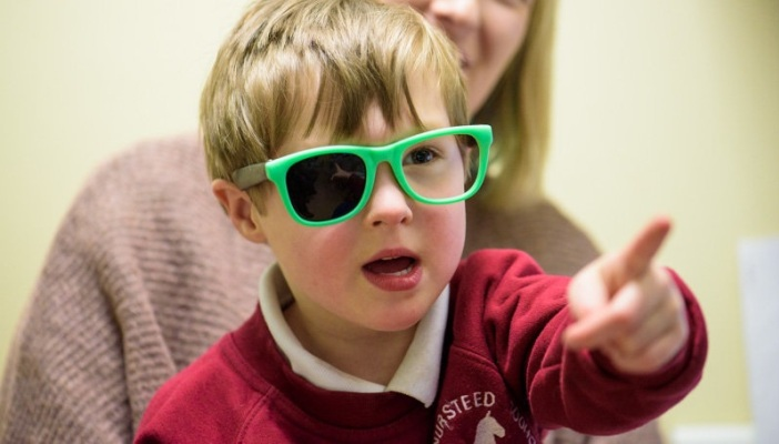 Little boy in hospital eye test