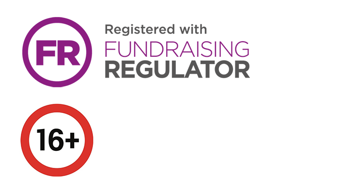 Fundraising regulator logo and a 16+ sign