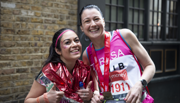2019 runners Marie and Teresa celebrate at the post-race reception