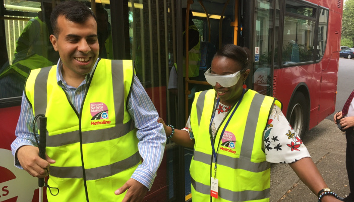 Bus driver and RNIB campaigner swapping places