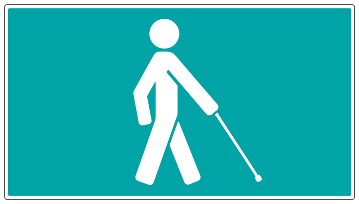 Graphic of a stick person using a long cane