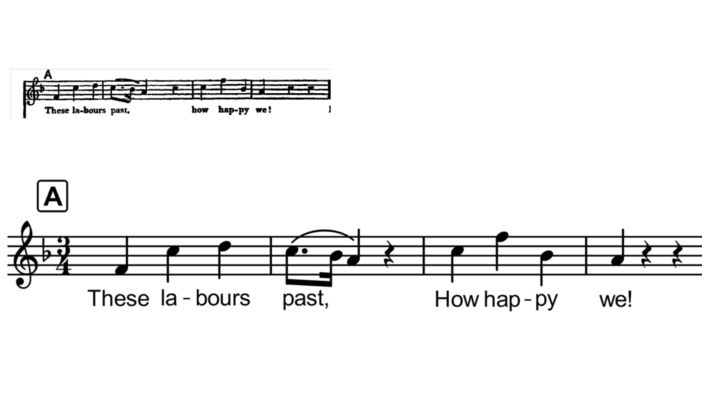 "Four bars from the soprano chorus part of Handel's oratorio ""Jeptha"" in two versions. Version one is the download from the free score site ISMLP. This extract has been rewritten using Musescore 2. It comprises four bars in three four time, key signature one flat, rehearsal letter A, treble clef. Bar one: F crotchet in the lowest space, going up to C crotchet, D crotchet, bar line. Bar two: C dotted quaver, slurred to, B (flat) semiquaver, slurred to A crotchet, crotchet rest, barline. Bar three: up to C crotchet, up to F crotchet, down to B (flat) crotchet, barline. Bar four: A crotchet, two crotchet rests. Underneath the notes is the text as follows. Bar one: These la-bours. Bar two: past, . Bar three: How hap-py. Bar four: ""we!"" As well as general enlargement, Version 2 has thickened stave and barlines and slur; thickened note stems; enlarged duration dot. The text has the rehearsal mark in arial bold in a square box and the text in Arial in a large font."