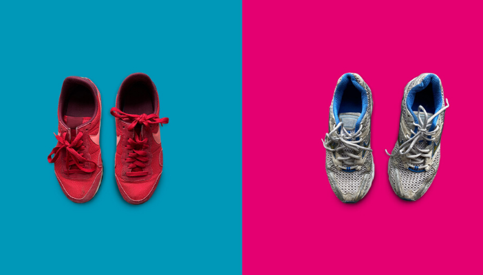 Two pairs of trainers one on a pink background and one on a blue background