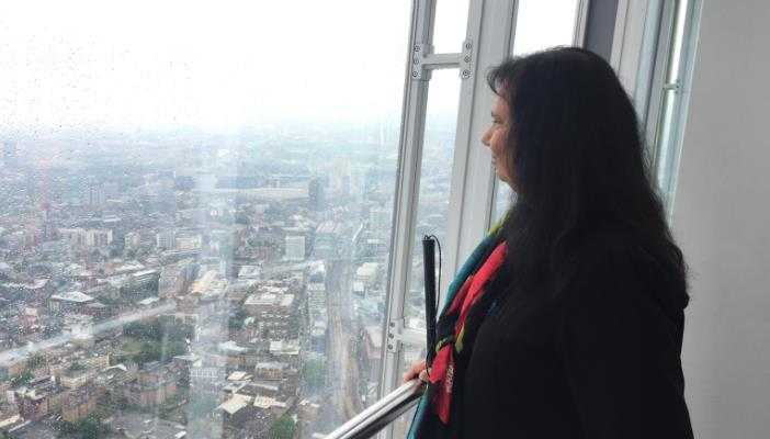 Photo of Urmilla looking out of a window at a view over London