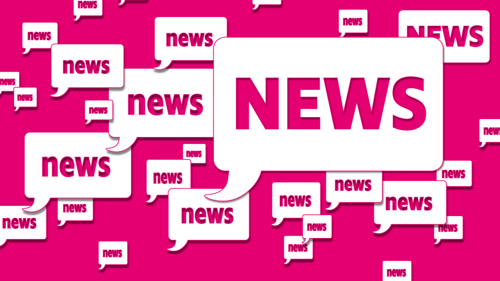 """Lots of white quote boxes with the word """"news"""" on a pink background"""