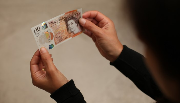 Photo of someone holding the new £10 note