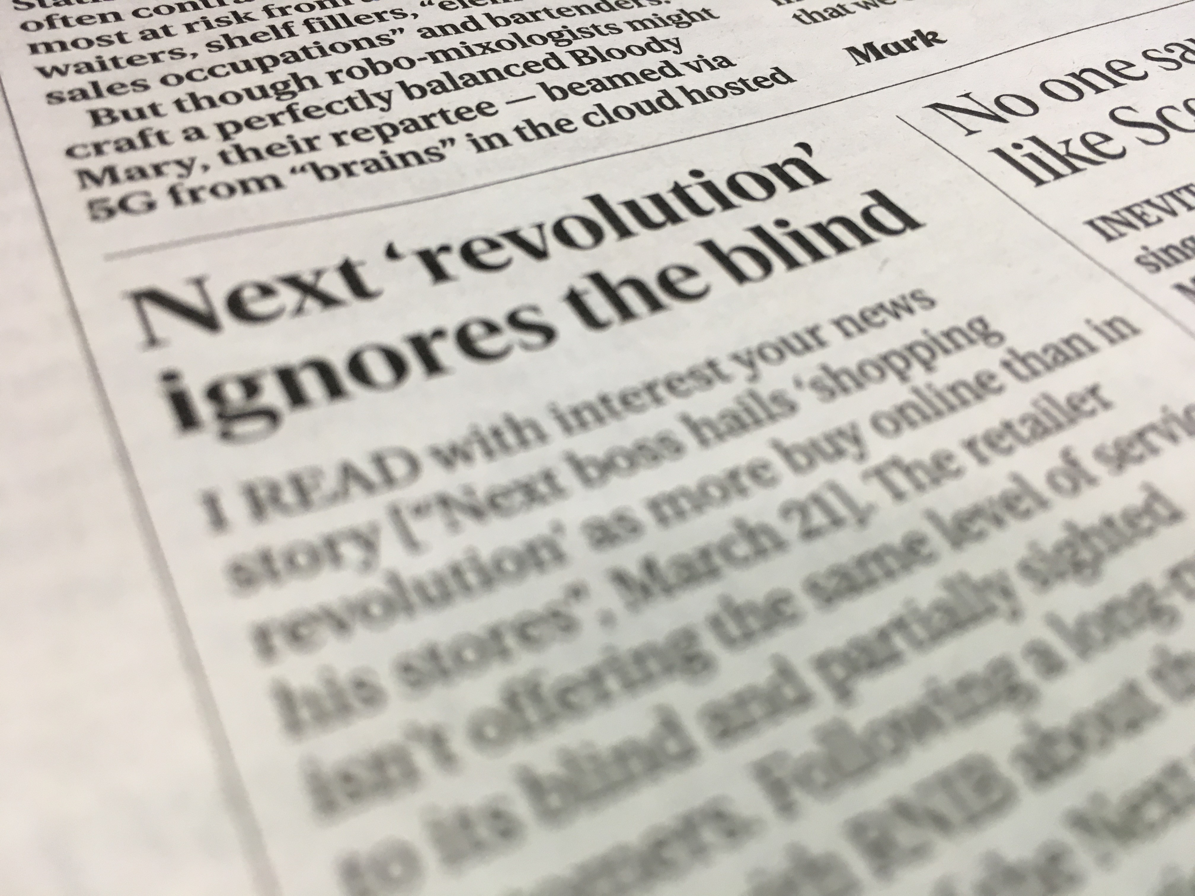 Picture shows the actual Letter to Editor and the heading 'Next revolution ignores the blind'