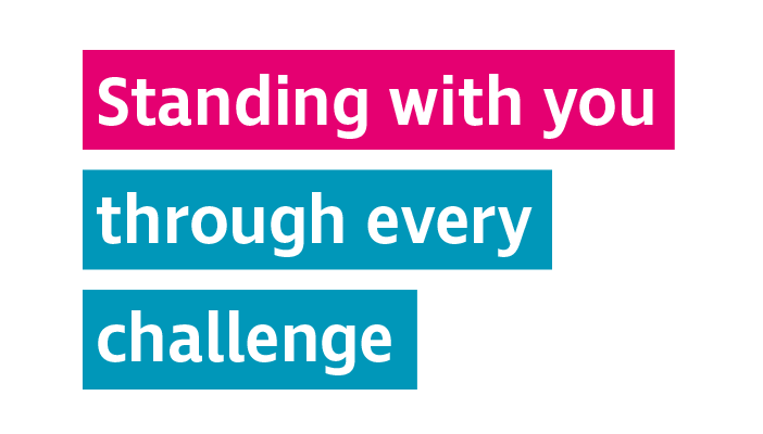 Graphic saying standing with you through every challenge