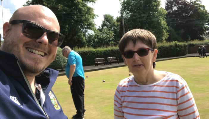RNIB Community Access Worker Jonathan Adams pictured here with club member Anne Campbell