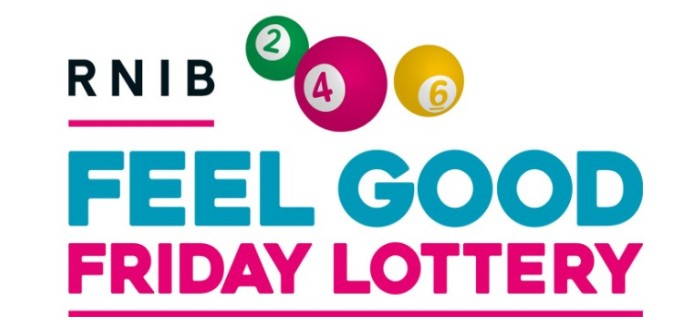 RNIB Feel Good Friday Lottery Logo links to lottery website