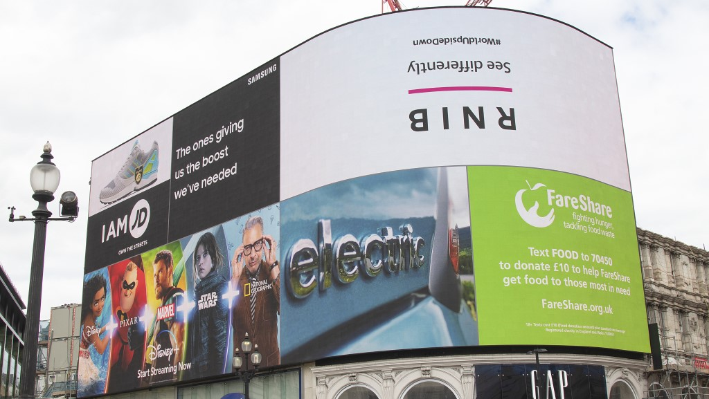 RNIB lights up the billboards at Piccadilly Lights