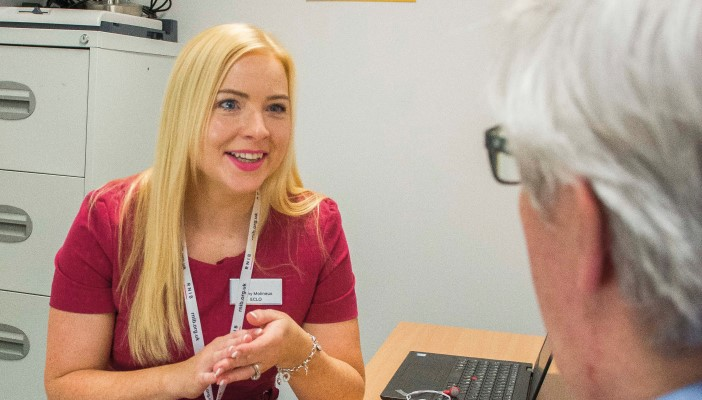 RNIB ECLO Jenny talks to a patient