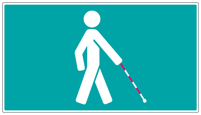 graphic shows a stick man with a red and white banded cane